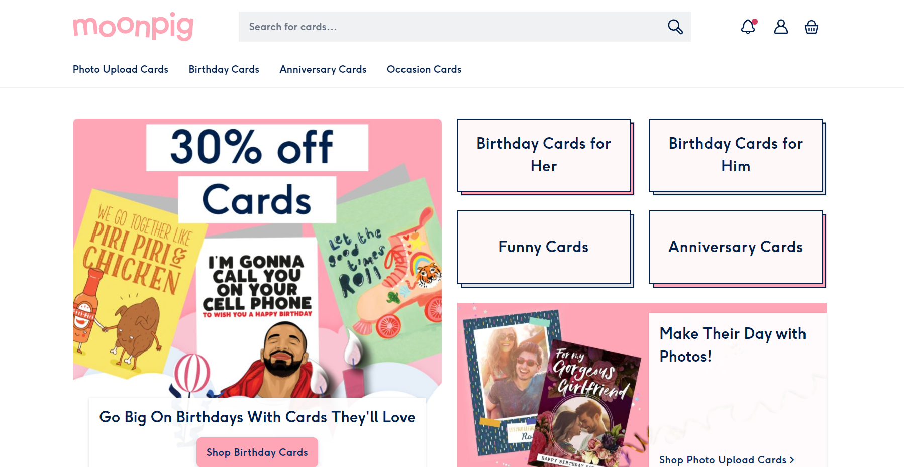 This is a screenshot taken from the US store for Moonpig.com showing the different categories of personalized greeting card designs they offer, including funny cards.