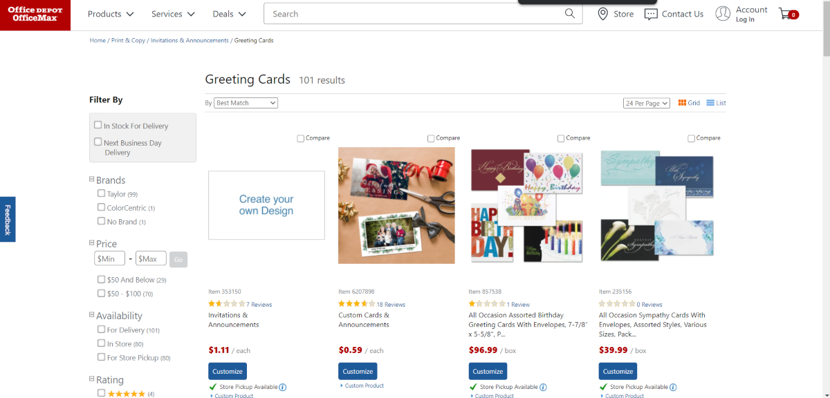 This is a screenshot taken from the OfficeDepot.com store showing the Greeting Cards category that would be suitable for graphic designers