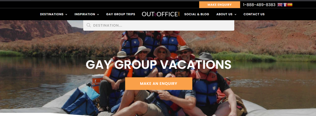 This is a screenshot taken from the OutofOffice.com website showing the gay groups vacation category.