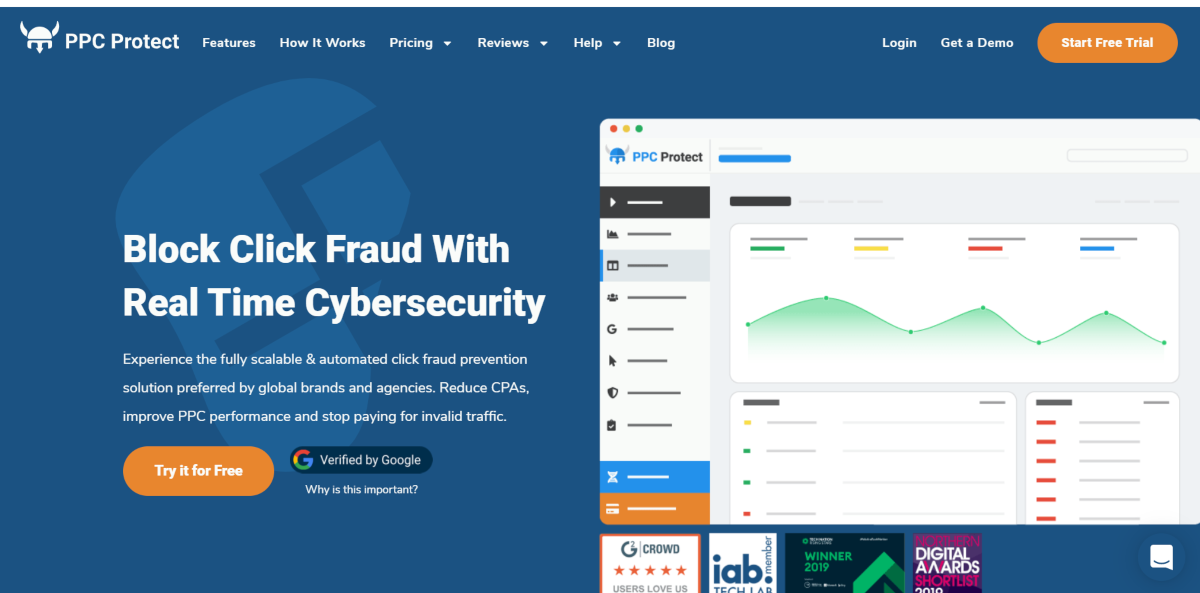 This is a screenshot taken from the PPCProtect.com homepage showing they offer a SaaS solution to block click fraud in real-time.