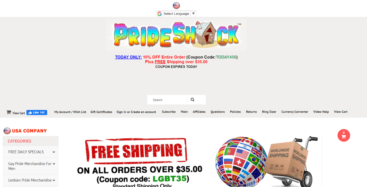 This is a screenshot taken from the PrideShack.com website showing the brand name using the rainbow color scheme of the LGBTQ+ flag.