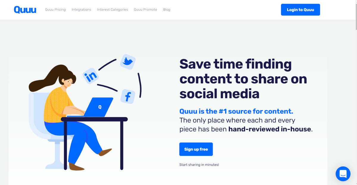This is a screenshot taken from the homepage of Quuu.co showing their service saves social media managers and small business owners time curating content to manage social media marketing campaigns.
