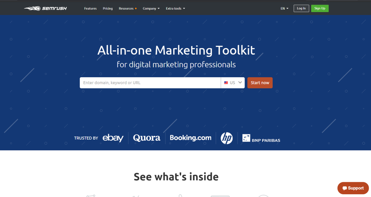 "This  is a screenshot taken from the SEMRush.com website showing they offer an ""All-In-One Marketing Toolkit"" for digital marketers to increase web traffic."