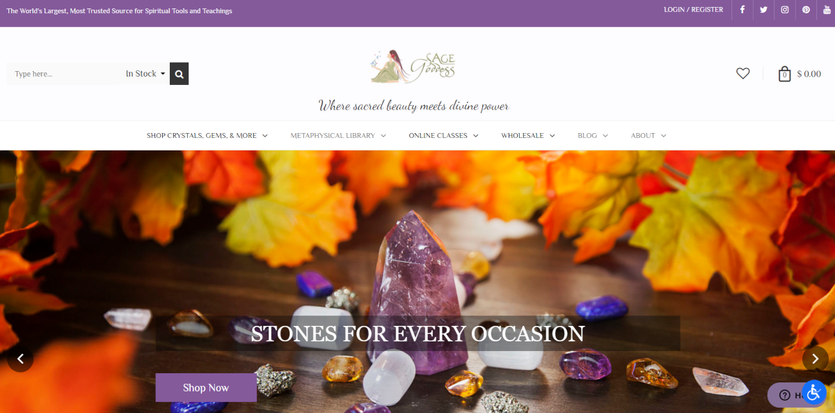 This is a screenshot taken from the SageGoddess.com website showing they're a specialist metaphysical store with the largest spiritual tools and teachings online with some photos displayed to show a sample of the healing stones available.