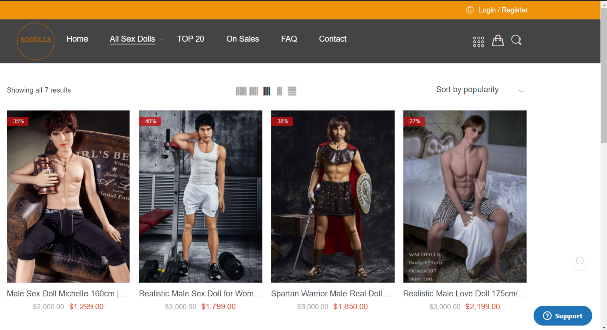 This is a screenshot taken from the sodolls.com website showing the gay sex doll category showing male dolls with clothing.