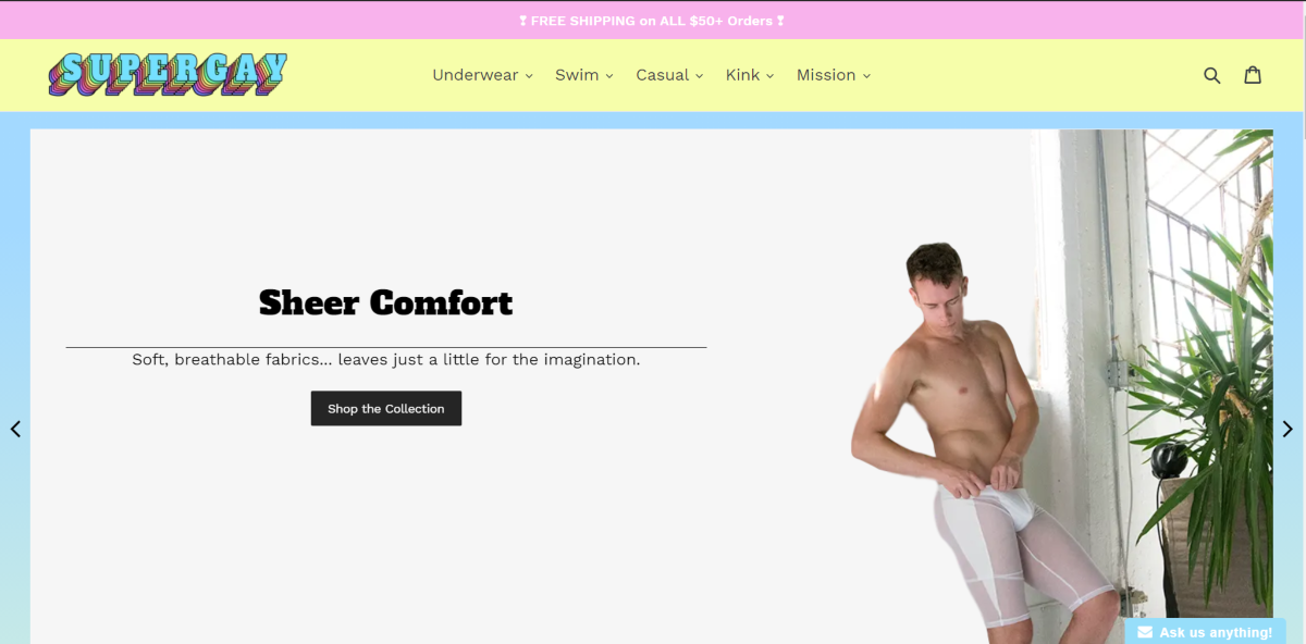 This is a screenshot taken from the SuperGayUnderwear.com website showing the categories of underwear they have available which includes casual, kink, and swim wear for men.