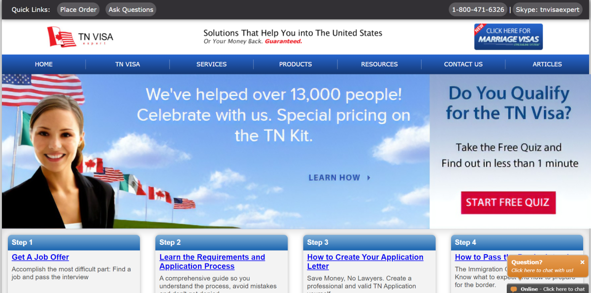 This is a screenshot taken from the TNVisaExpert.com website showing they've helped over 13,000 people with immigration law with their TN kit and they provide support for same-sex couples to apply for a TN Visa.