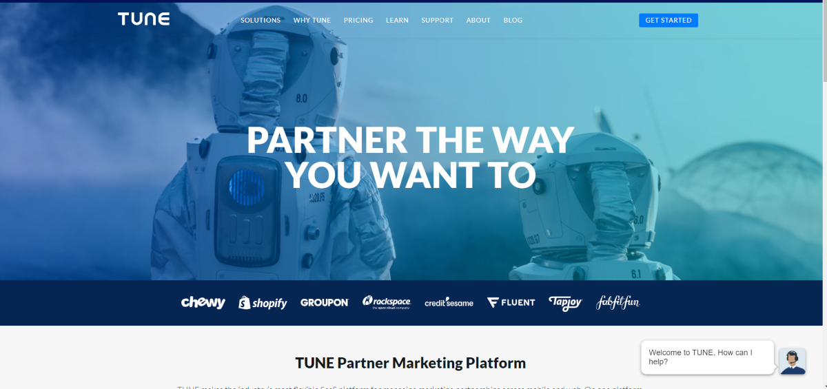 This is a screenshot taken from the TUNE.com website showing they're a partner marketing platform that's been used big brands including Shopify, Groupon, and Chewy.