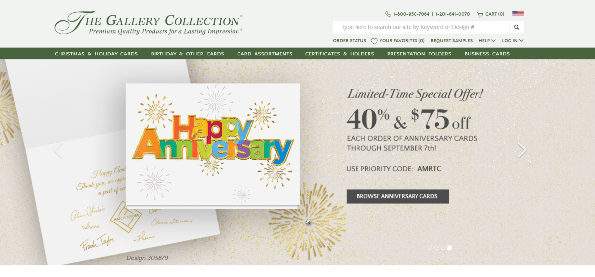 This is a screenshot showing the desktop view of the GalleryCollection.com greeting card store showing the wide navigation bar for the various categories of gift and invite cards they sell.