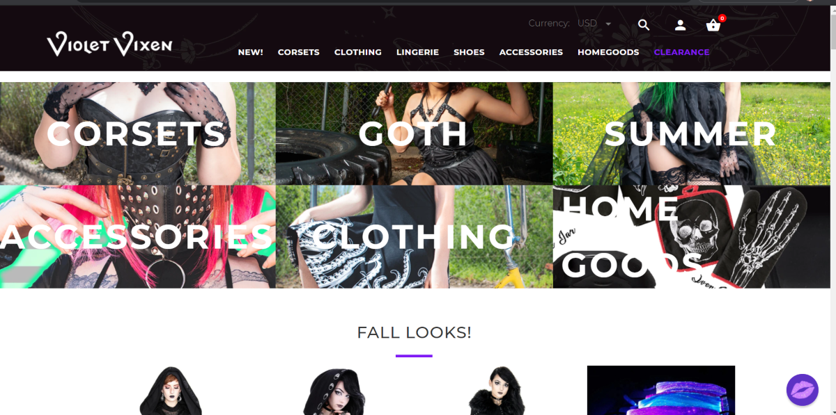 The image is a screenshot taken from TheVioletVixen.com website showing some of their alternative fashion wear including corsets, goth fashion, accessories, and home goods.