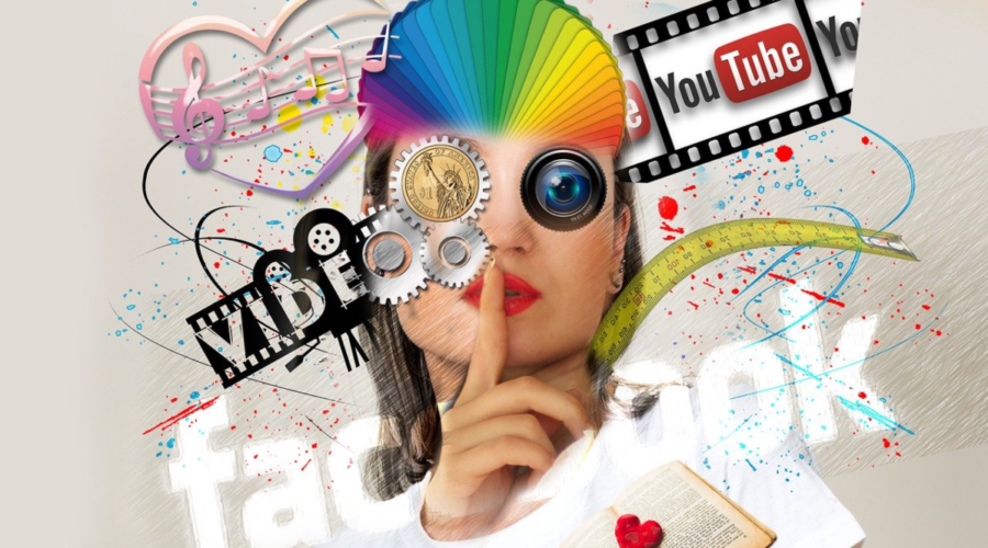 The image is an artistic headshot drawing of a girl with her index finger to her lips indicating she knows a secret. That's surrounded by logos of Facebook, Youtube, a drawing of a film reel and musical notes indicating a few of the largest digital advertising networks used to increase web traffic.
