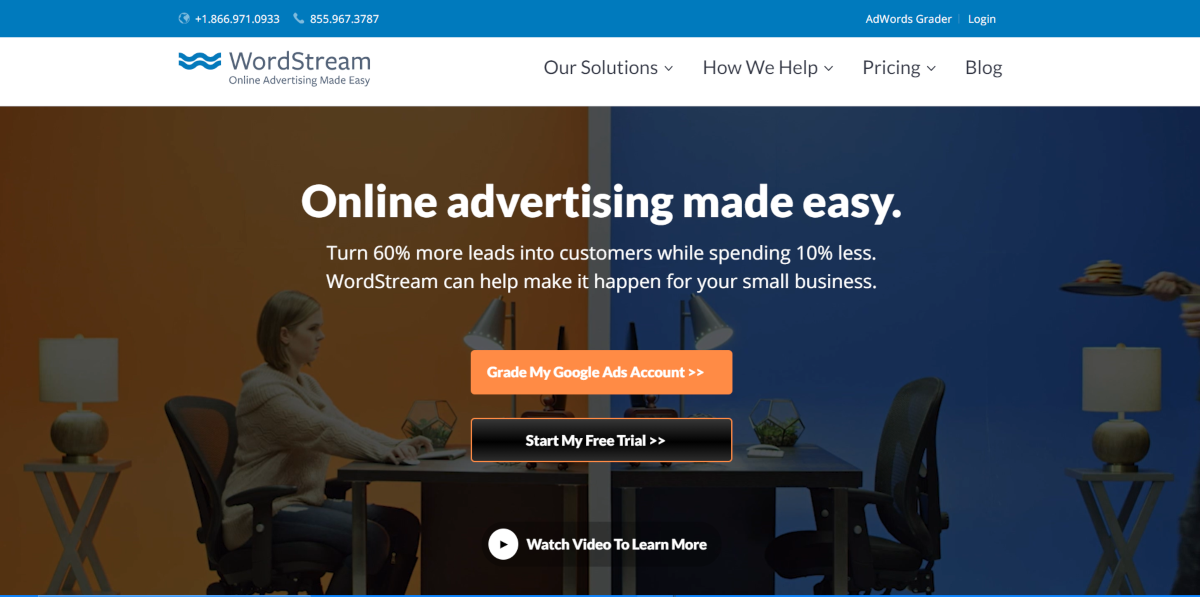 This is a screenshot taken from the WordStream.com website showing the platform aims to make online advertising easy.