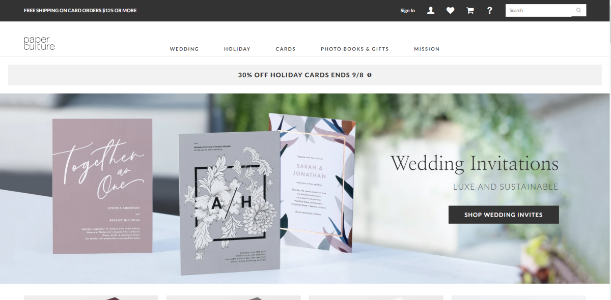 This is a screenshot taken from the PaperCulture.com store showing a sample of their sustainably made luxury wedding invitation cards