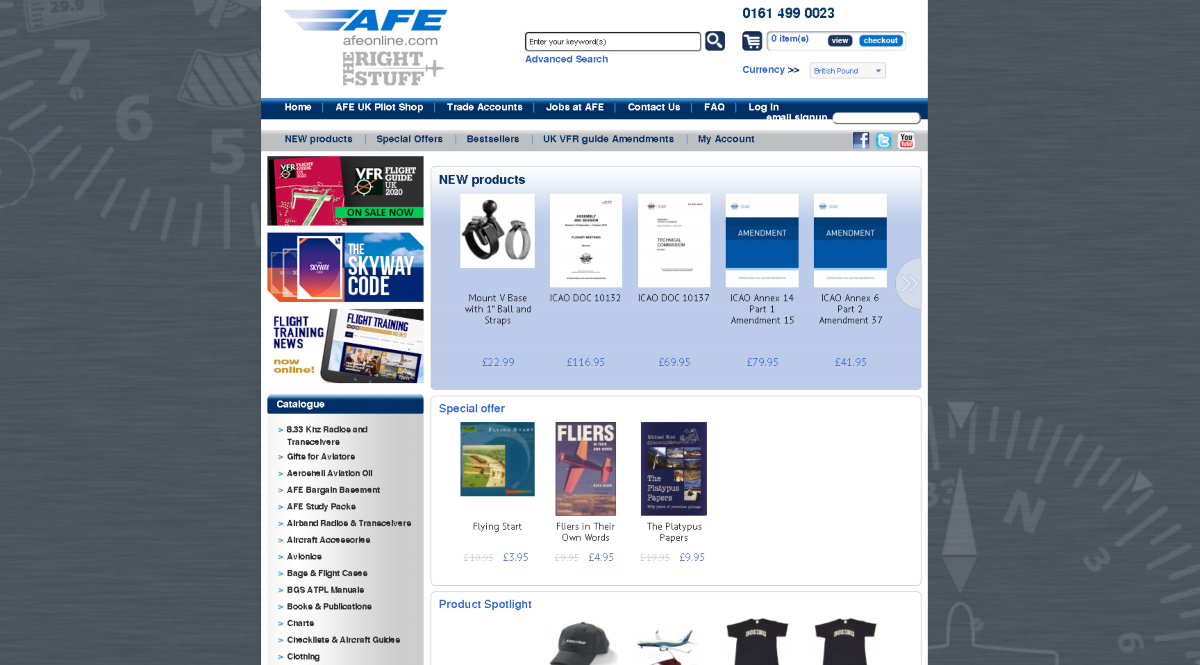 This is a screenshot taken from the AFEOnline.com website showing a number of products and training materials for pilots.
