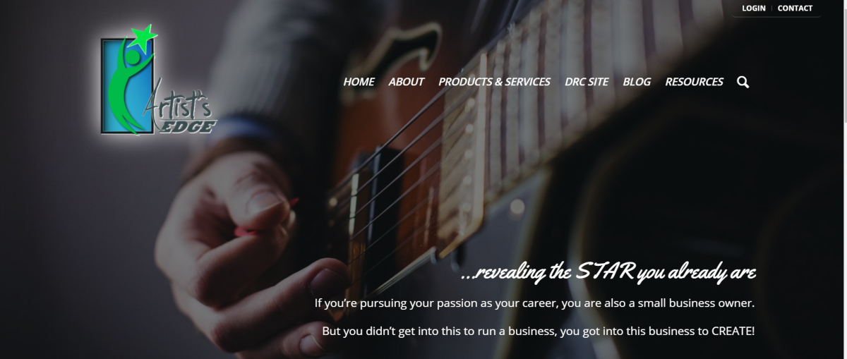 This is a screenshot taken from the Artists-Edge.com website featuring an image of a musician playing a guitar and offering business consulting to enable artists to turn their passion into a profitable business venture