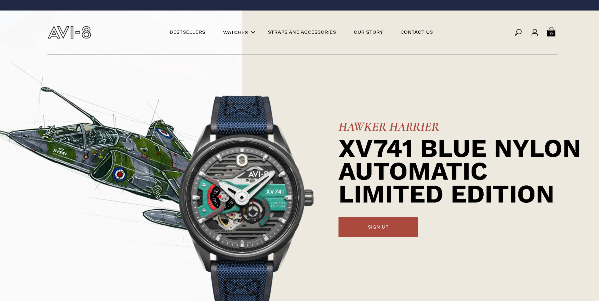 This is a screenshot taken from the US Store for Avi-8 showing the Limited Edition Hawker Harrier aviation watch.