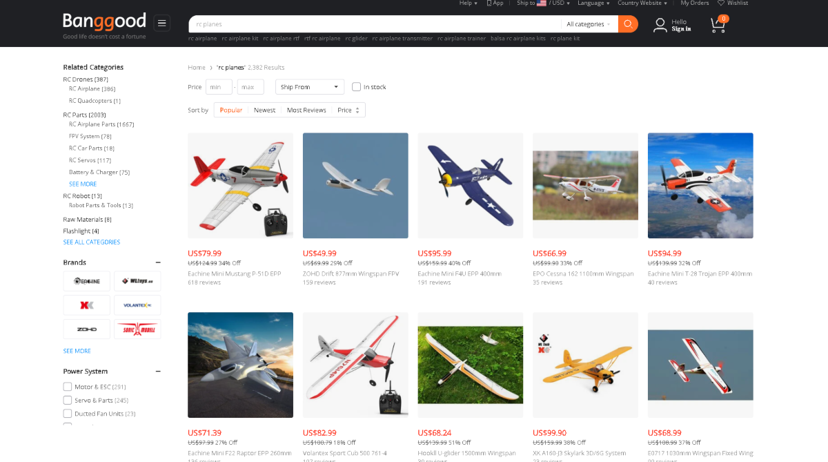 This is a screenshot taken from the RC planes category on Banggood.com showing a collection of discounted RC Planes that can be shipped internationally from China.