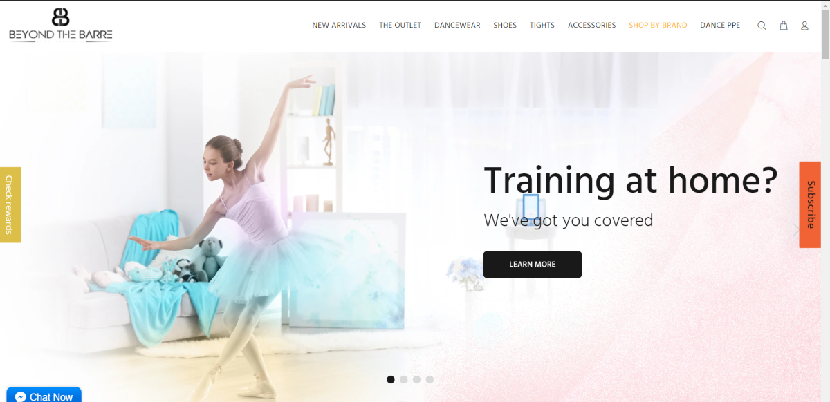 This is a screenshot taken from the BeyondtheBarreusa.com website showing a photo a dancer dressed in rehearsal attire as a sample of the dancewear and gymnastic attire the boutique store sells