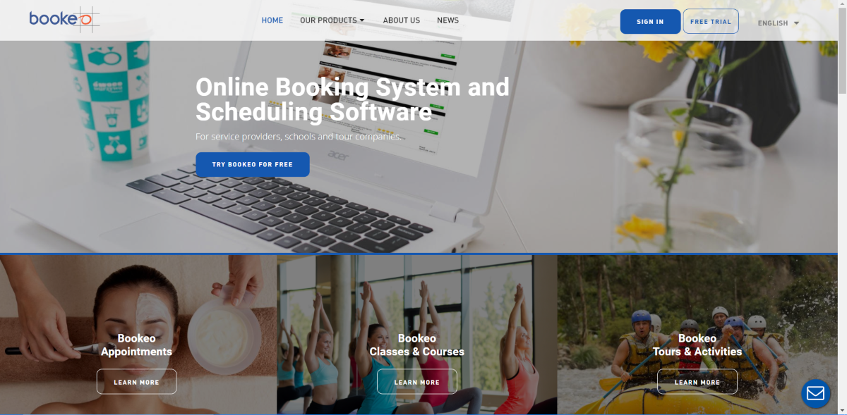 This is a screenshot taken from the Bookeo.com website showing they provide a SaaS booking software suited to local service-based businesses to streamline online bookings and appointment setting.