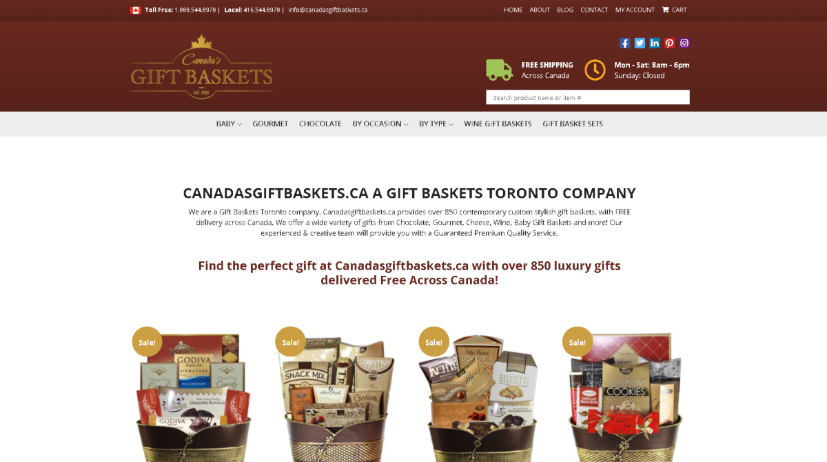 This is a screenshot taken from CanadasGiftBaskets.ca showing they have 850+ luxury gift baskets, all with free shipping in Canada