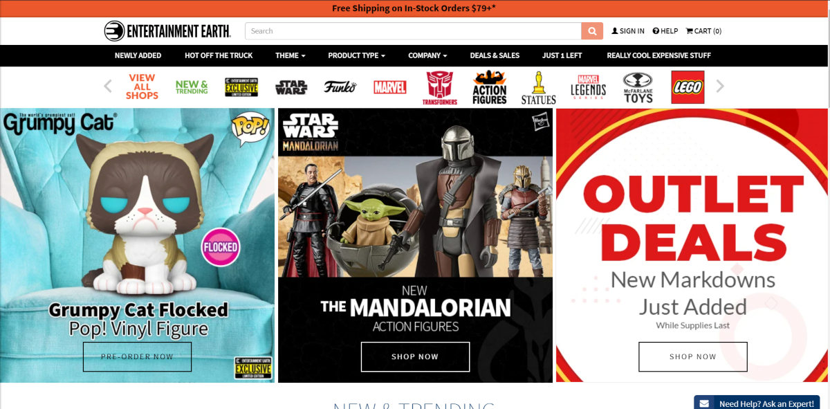This is a screenshot taken from the EntertainmentEarth.com website that shows some of the NECA collectible figurines they have available and a range of other toys from brands and franchises in the film and gaming industry