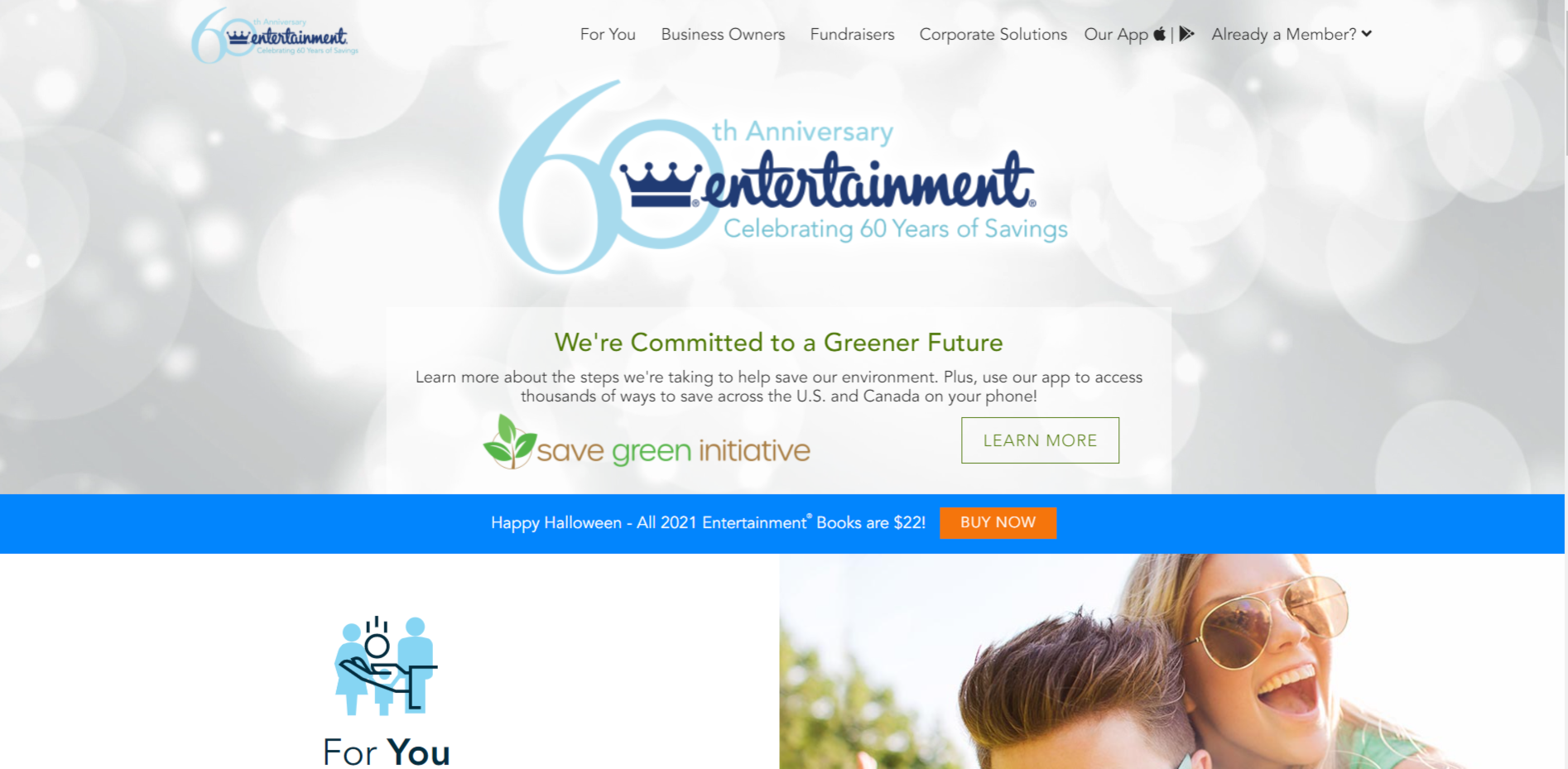 This is a screenshot taken from the Entertainment.com website showing they've been negotiating discount deals for 60-years
