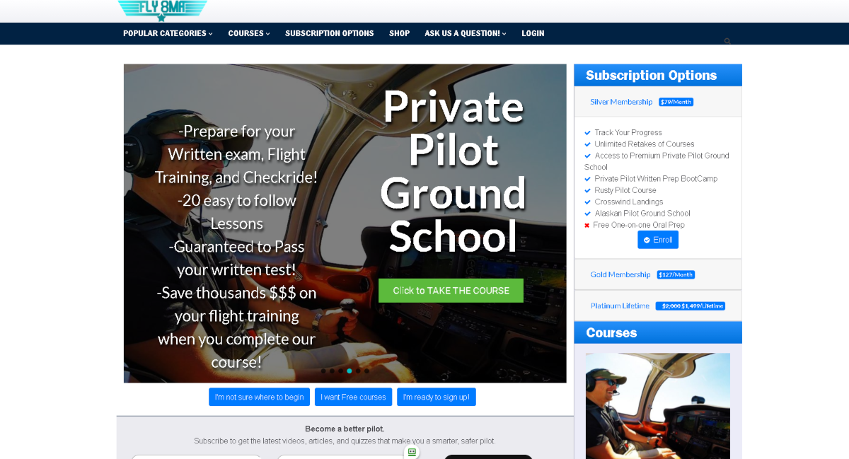 This is a screenshot taken from the Fly8ma.com website showing they have various subscription-based training packages for their online Private Pilot Ground School.