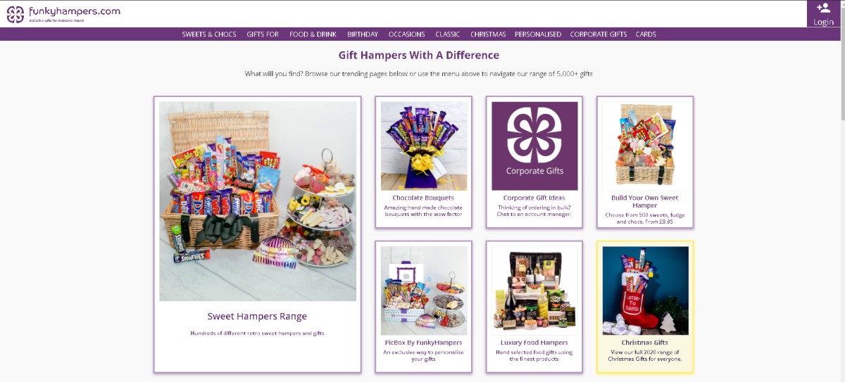 The image shows a screenshot taken from the FunkyHampers.com website showing a selection of food and sweet hampers avaialable with some presented in gift baskets, others as gift bouquets.