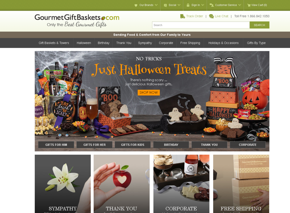 This image is a screenshot taken from GourmetGiftIdeas.com showing the seasonal Halloween gift basket ideas