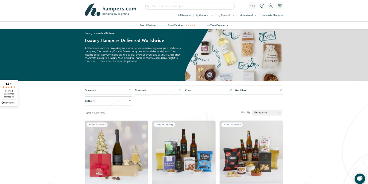 The image is a screen capture taken from the Hampers.com website that ship food baskets internationally