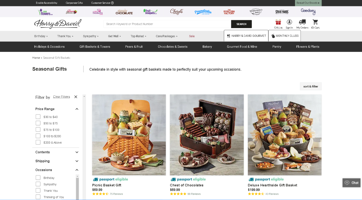 This is a screenshot taken from the HarryandDavid.com website showing a few of the just because gift baskets available