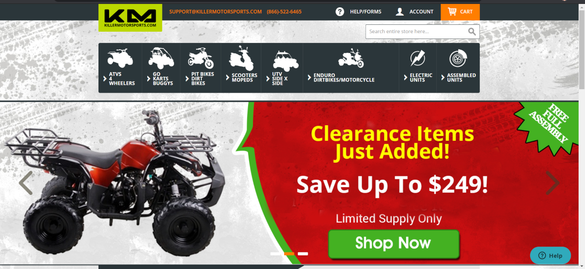 This is a screenshot taken from the KillerMotorsports.com website showing a photo of one of the off-road ATVs they have available and other models available including go karts / buggys, pit bikes, scooters and electric units for off-road riding
