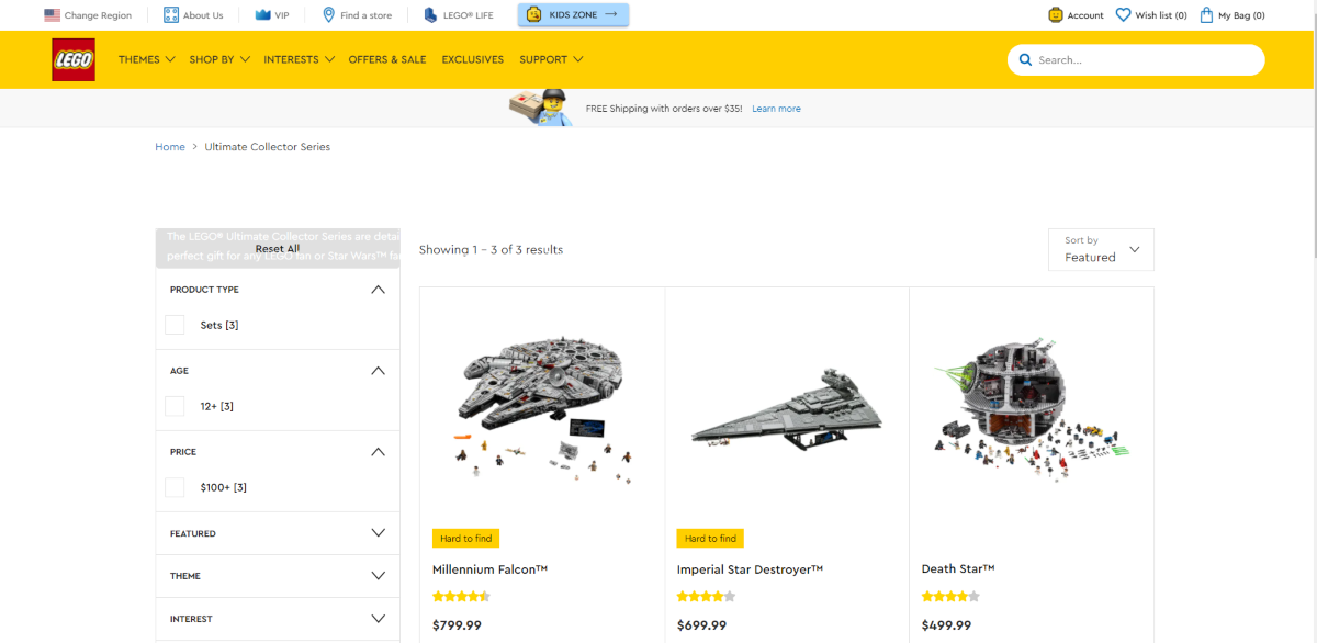 This is a screenshot taken from the official LEGO.com store showing a few of the collector's editions they have for ages 12+