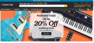 This is a screenshot taken from the MusiciansFriend.com website showing an image featuring a guitar, parts, and a keyboard, as an illustration of some of the musical instruments and parts they have in stock.