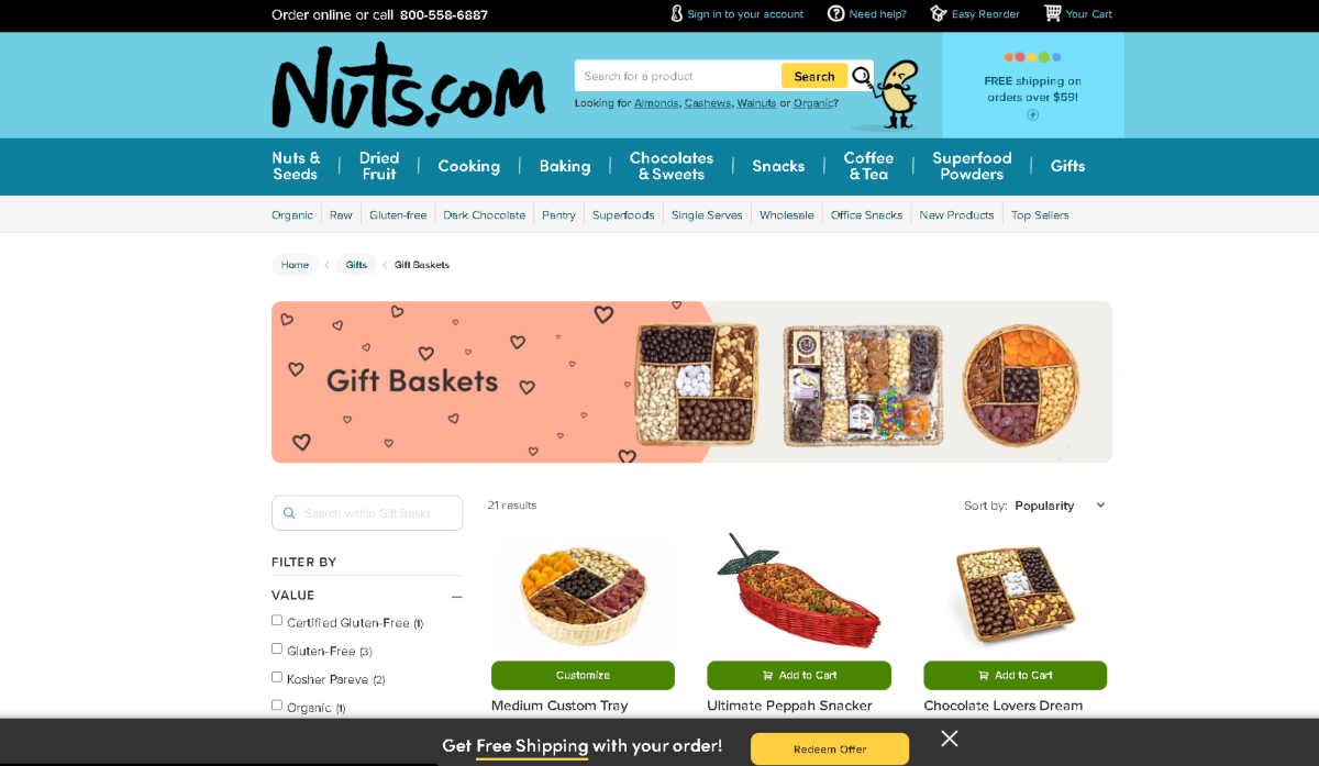 This image is a screenshot taken from the Gift Basket category on the Nuts.com website