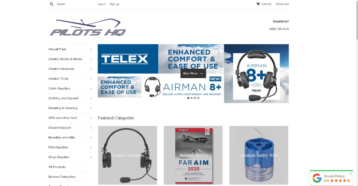 This is a screenshot taken from the PilotsHQ.com website showing a sample of the aviation supplies they stock including professional headsets for pilots.