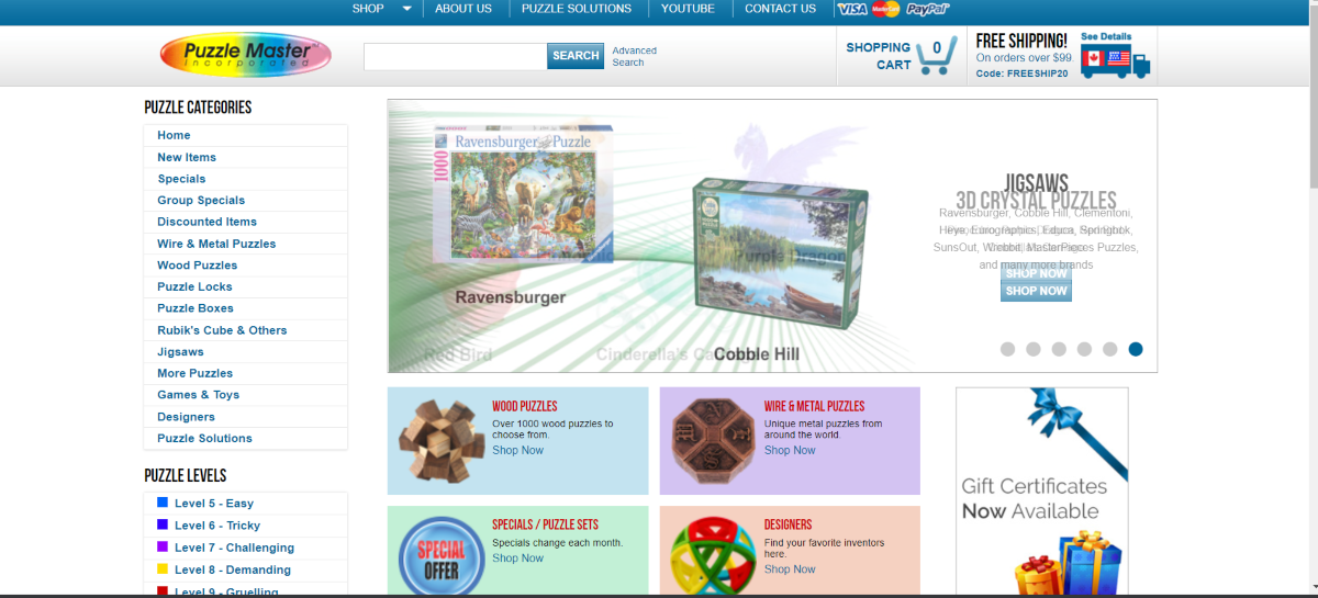 This is a screenshot taken from the PuzzleMaster.ca website showing a sample of the puzzles they have avaialble for sale.