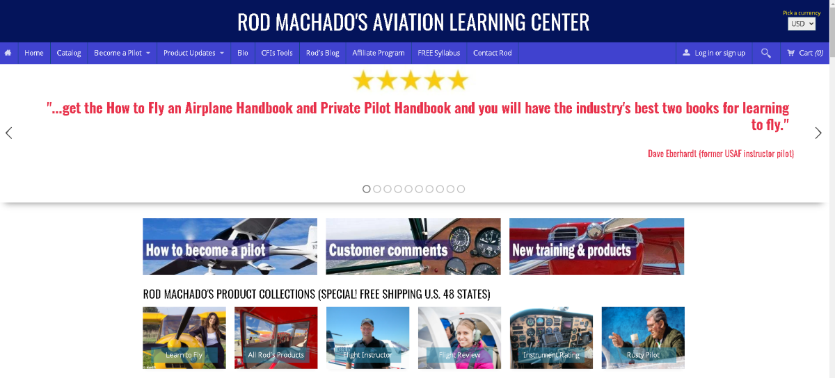 This is a screenshot taken from the rodmachado.com website that teaches students to learn to fly, read instruments and study to become a pilot.