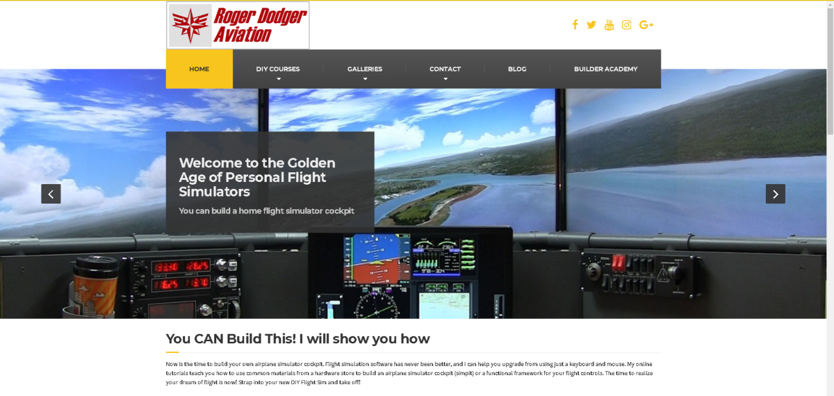 This is a screenshot of the RodgerDodger.net website that shows a triple monitor flight simulator and sell DIY plans for students to build their own flight simulators at home.