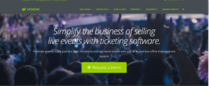 This is a screenshot taken from the Vendini.com website showing they provide ticketing software to simplify ticketing for live events in the entertainment industry.