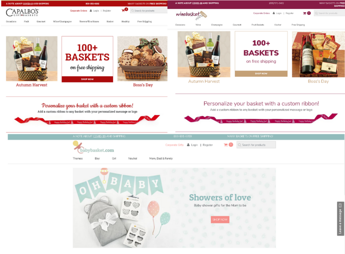 This image is a collage of screenshots showing CabalbosOnline.com, WineBasket.com and BabyBasket.com, which are all operated by the same company  and cover specialty gift baskets for all occasions.