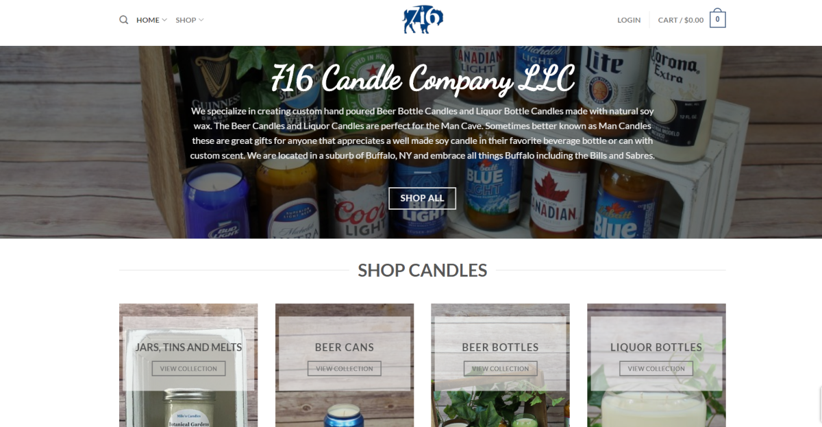 Image is a screenshot taken from 716candlesco.com showing various beer cans that have been upcycled to make scented soy candles.
