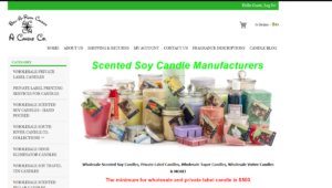 The image is a screenshot taken from ACandleCo.com showing various candles in different colors and sizes with the text reading they are Scented Soy Candle Manufacturers