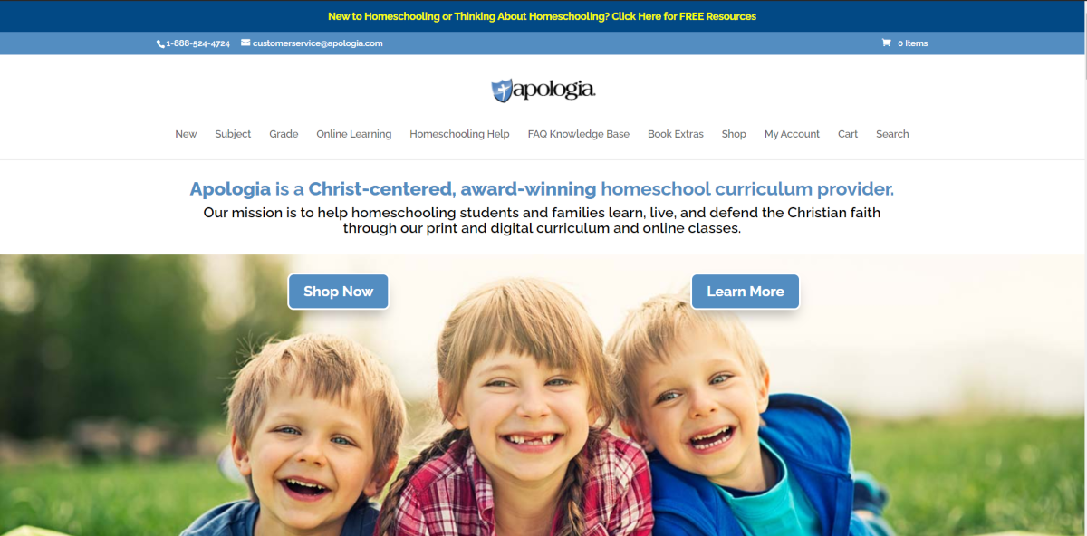 This is a screenshot taken from the Apologia.com website showing they are a Christian homeschool curriuculum provider.