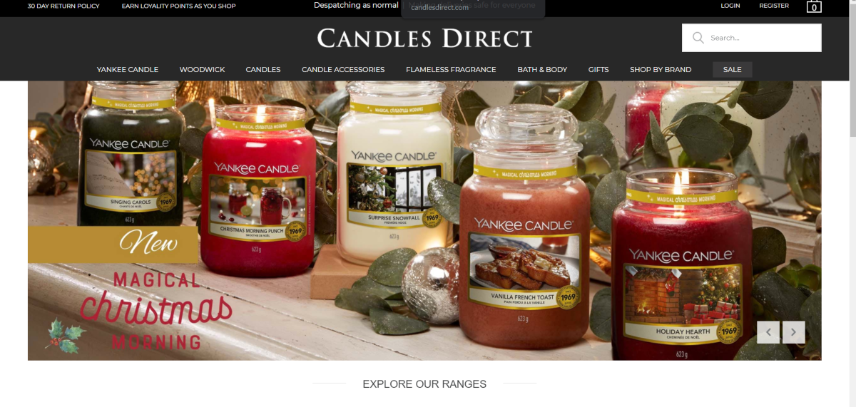 Image is a screenshot taken from CandlesDirect.com showing a small selection of jar candles they sell