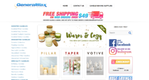 This is a screenshot taken from the GeneralWax.com store that has some images of the candles they sell including pillar candles, taper and stick candles and votive candles.