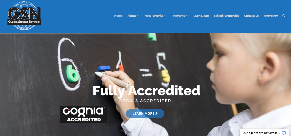 This is a screenshot taken from the GlobalStudentNetwork.com website showing they are fully accredited by Cognia to provide parents with homeschool curriculum.