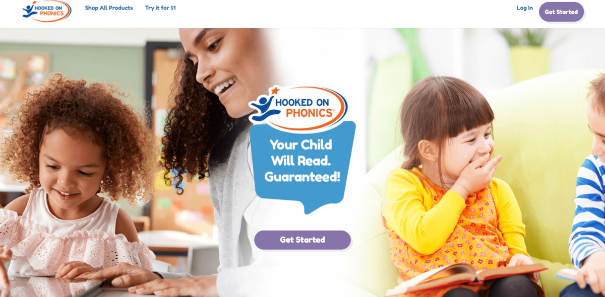 This is a screenshot taken from the HookedonPhonics.com website showing a guarantee that children will be able to learn to read with their program.