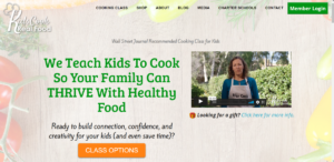 This is a screenshot taken from the KidsCookRealFood.com website where parents can find online cooking classes to work into their child's education teaching them how to cook healthy meals.