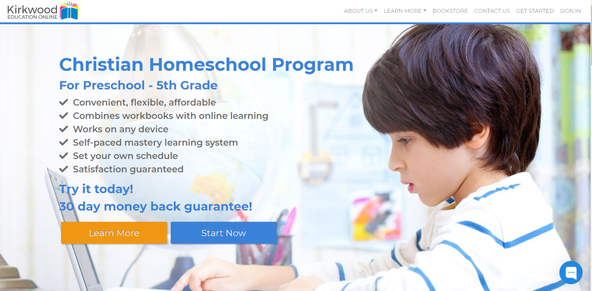 This is a screenshot taken from the KirkwoodEducationOnline.com website showing they provide a Christian Homeschool Program for Preschool age kids to 5th Grade.